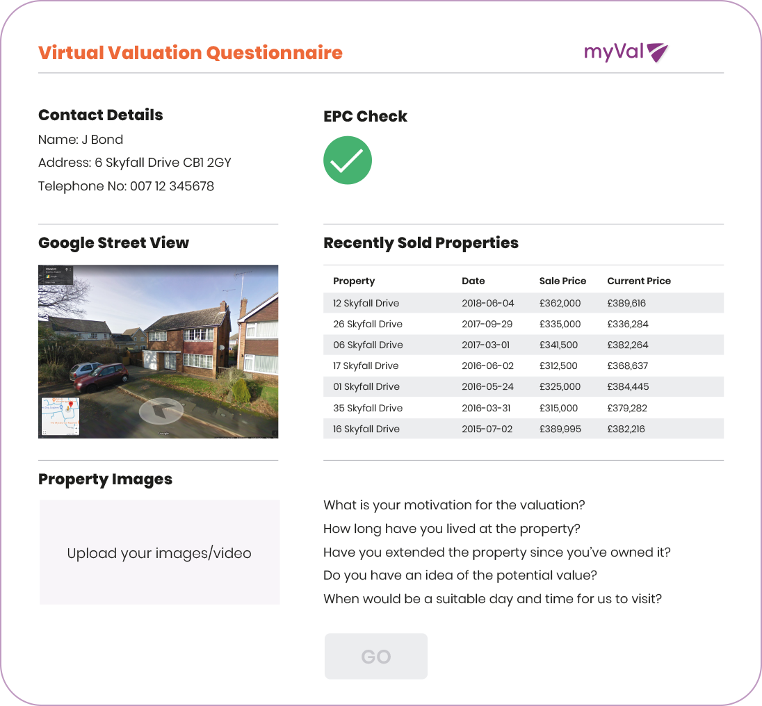virtual valuation tool for estate agents